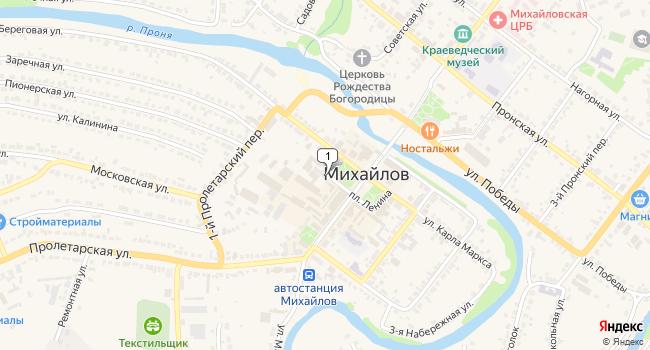 Купить торговую площадь 177 м<sup>2</sup> в Михайлове по адресу Россия, Рязанская область, Михайлов, площадь Ленина, 11