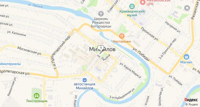Купить торговую площадь 150 м<sup>2</sup> в Михайлове по адресу Россия, Рязанская область, Михайлов, площадь Ленина