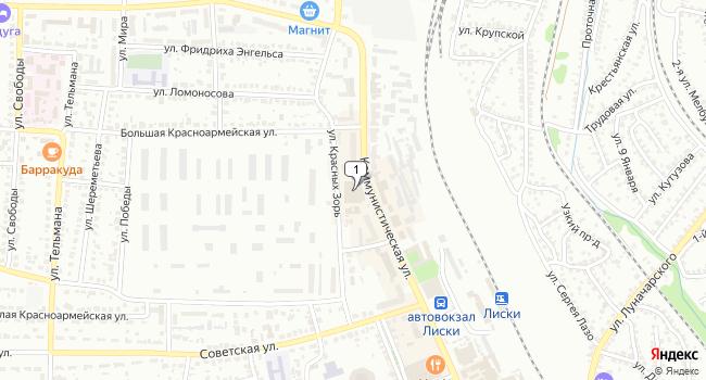Купить торговую площадь 70 м<sup>2</sup> в Лисках по адресу Россия, Воронежская область, Лиски, Коммунистическая улица, 21