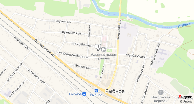Купить торговую площадь 500 м<sup>2</sup> в Рыбном по адресу Россия, Рязанская область, Рыбное, улица Дубинина, 5