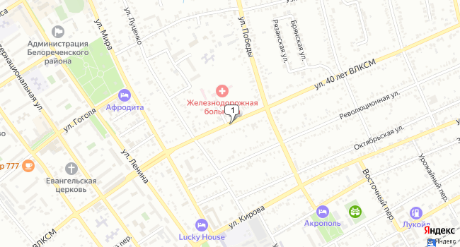 Купить коммерческую недвижимость 850 м<sup>2</sup> в Белореченске по адресу Россия, Краснодарский край, Белореченск, улица 40 лет ВЛКСМ
