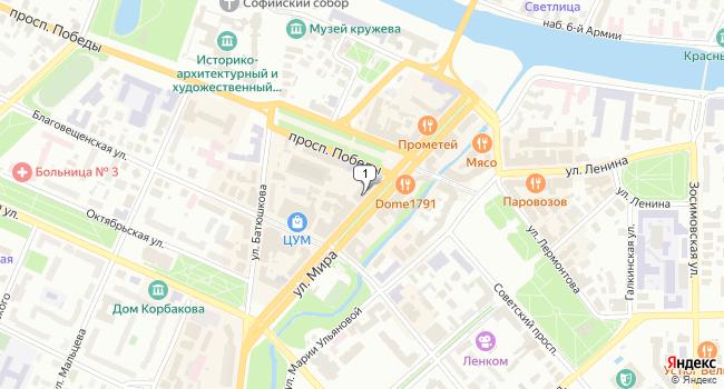 Арендовать офис 80 м<sup>2</sup> в Вологде по адресу Россия, Вологда, улица Мира, 12
