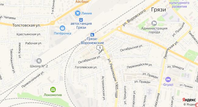 Купить торговую площадь 200 м<sup>2</sup> в Грязях по адресу Россия, Липецкая область, Грязи, Воронежский переулок, 8