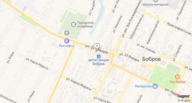 Арендовать торговую площадь 26 м<sup>2</sup> в Боброве по адресу Россия, Воронежская область, Бобров, улица 22 Января, 108