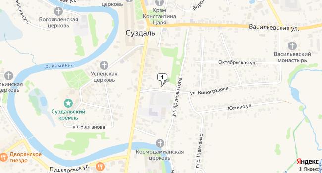 Купить земельный участок 386 м<sup>2</sup> в Суздале по адресу Россия, Владимирская область, Суздаль, улица Виноградова, 3