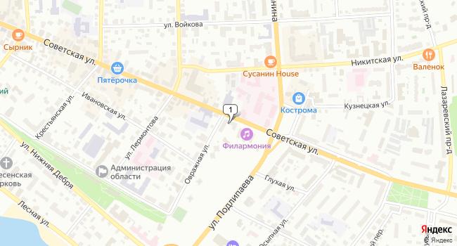 Арендовать торговую площадь 80 м<sup>2</sup> в Костроме по адресу Россия, Кострома, Советская улица, 56