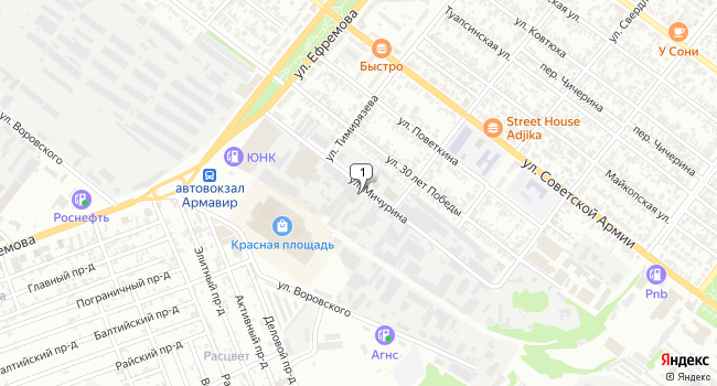 Арендовать склад 100 м<sup>2</sup> в Армавире по адресу Россия, Краснодарский край, Армавир, улица Мичурина, 4