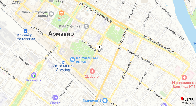 Арендовать коммерческую недвижимость 164 м<sup>2</sup> в Армавире по адресу Россия, Краснодарский край, Армавир, улица Халтурина, 89