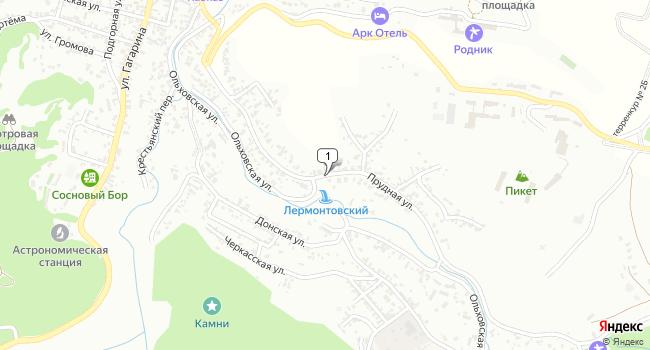 Купить земельный участок 900 м<sup>2</sup> в Кисловодске по адресу Россия, Ставропольский край, Кисловодск, Прудная улица