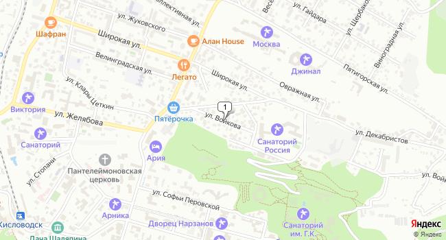 Купить земельный участок 600 м<sup>2</sup> в Кисловодске по адресу Россия, Ставропольский край, Кисловодск, улица Войкова