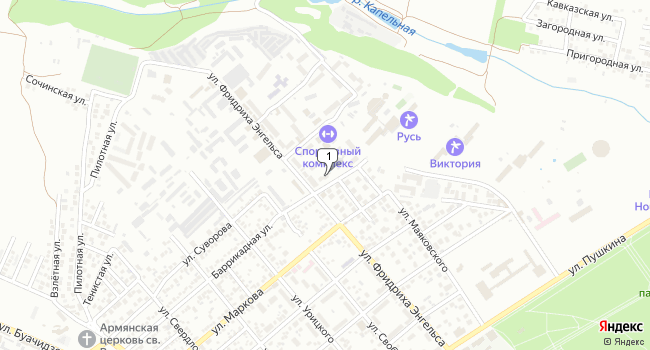 Купить торговую площадь 150 м<sup>2</sup> в Ессентуках по адресу Россия, Ставропольский край, Ессентуки, Баррикадная улица, 4