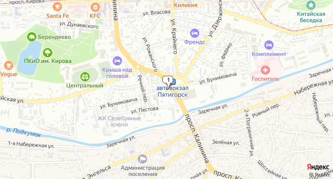 Арендовать офис 22 м<sup>2</sup> в Пятигорске по адресу Россия, Ставропольский край, Пятигорск, улица Бунимовича