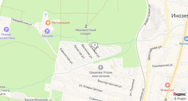 Купить земельный участок 900 м<sup>2</sup> в Железноводске по адресу Россия, Ставропольский край, поселок городского типа Иноземцево, Сосновая улица