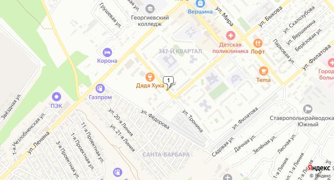 Арендовать офис 15 м<sup>2</sup> в Георгиевске по адресу Россия, Ставропольский край, Георгиевск, улица Тронина