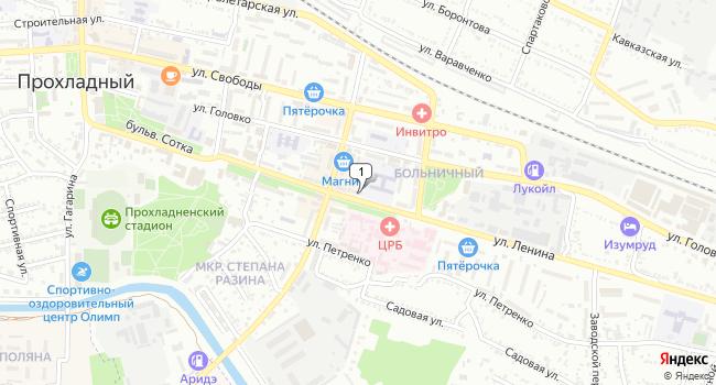 Купить торговую площадь 64 м<sup>2</sup> в Прохладном по адресу Россия, Кабардино-Балкарская Республика, Прохладный, улица Ленина, 78