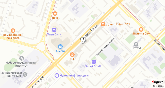 Арендовать торговую площадь 300 м<sup>2</sup> в Набережных Челнах по адресу Россия, Республика Татарстан, Набережные Челны, проспект Мира, 24Б