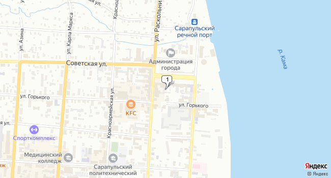 Арендовать кафе-ресторан 574 м<sup>2</sup> в Сарапуле по адресу Россия, Удмуртская Республика, Сарапул, Северный район, улица Раскольникова, 115Г