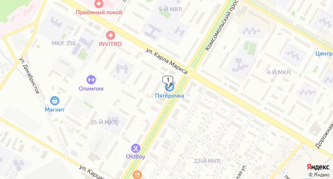 Арендовать торговую площадь 499 м<sup>2</sup> в Нефтекамске по адресу Россия, Республика Башкортостан, Нефтекамск, Комсомольский проспект, 33