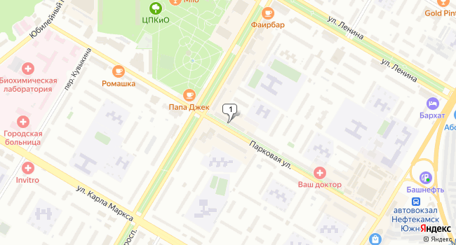 Арендовать торговую площадь 15 м<sup>2</sup> в Нефтекамске по адресу Россия, Республика Башкортостан, Нефтекамск, Парковая улица, 10