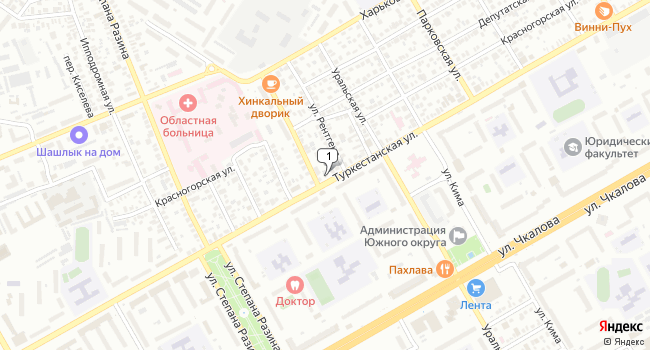 Купить торговую площадь 297 м<sup>2</sup> в Оренбурге по адресу Россия, Оренбург, Туркестанская улица, 54
