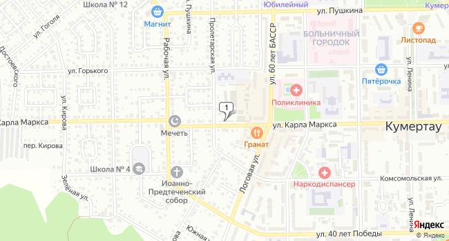 Купить торговую площадь 642 м<sup>2</sup> в Кумертау по адресу Россия, Республика Башкортостан, Кумертау, улица Карла Маркса, 36А
