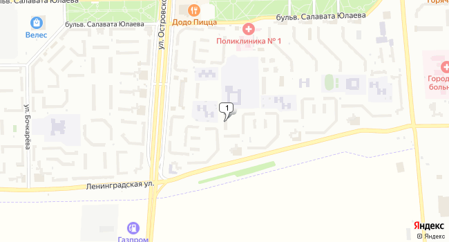 Купить торговую площадь 233 м<sup>2</sup> в Салавате по адресу Россия, Республика Башкортостан, Салават, Ленинградская улица, 57А