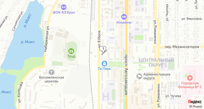 Арендовать торговую площадь 100 м<sup>2</sup> в Миассе по адресу Россия, Челябинская область, Миасс, улица 8 Июля, 39
