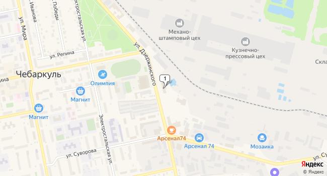 Купить торговую площадь 500 м<sup>2</sup> в Чебаркуле по адресу Россия, Челябинская область, Чебаркуль, улица Дзержинского, 9