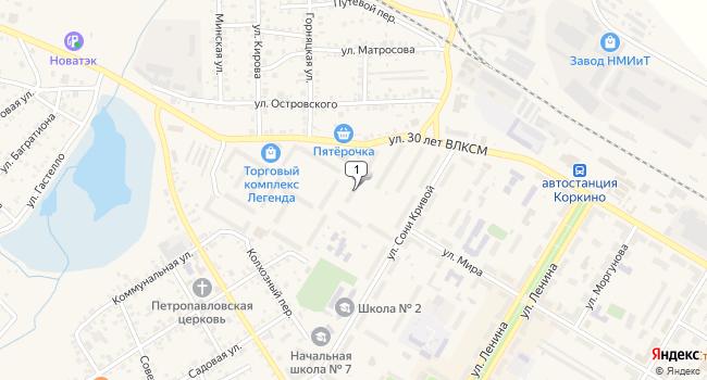 Купить торговую площадь 30 м<sup>2</sup> в Коркино по адресу Россия, Челябинская область, Коркино, улица 30 лет ВЛКСМ, 39А