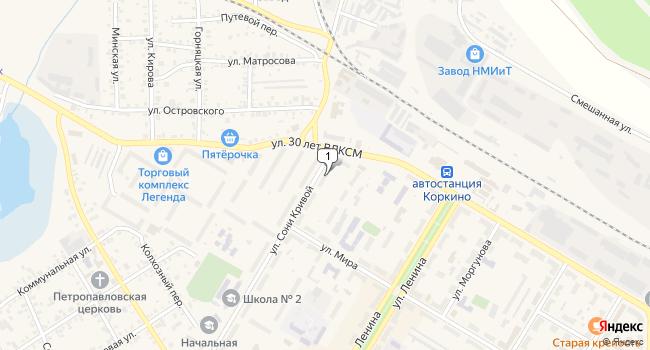 Купить торговую площадь 29 м<sup>2</sup> в Коркино по адресу Россия, Челябинская область, Коркино, улица Сони Кривой, 1