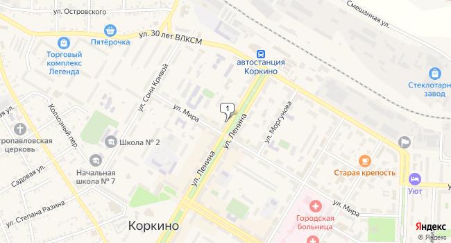 Купить торговую площадь 50 м<sup>2</sup> в Коркино по адресу Россия, Челябинская область, Коркино, улица Ленина, 8