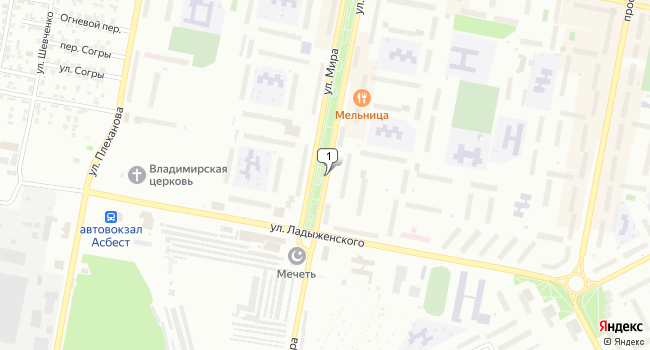 Арендовать торговую площадь 60 м<sup>2</sup> в Асбесте по адресу Россия, Свердловская область, Асбест, улица Мира