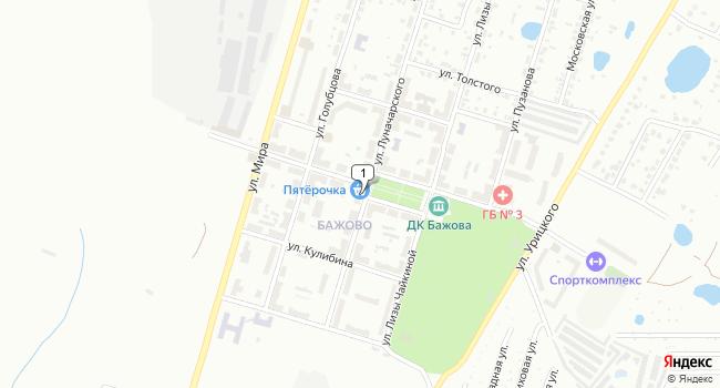 Купить торговую площадь 50 м<sup>2</sup> в Копейске по адресу Россия, Челябинская область, Копейск, поселок Бажово, улица Бажова, 10