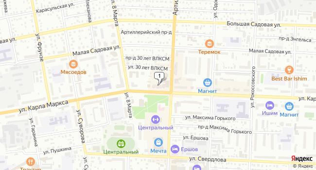 Купить торговую площадь 85 м<sup>2</sup> в Ишиме по адресу Россия, Тюменская область, Ишим, улица Карла Маркса, 29