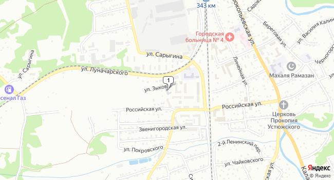 Купить торговую площадь 387 м<sup>2</sup> в Прокопьевске по адресу Россия, Кемеровская область, Прокопьевск, улица Зыкова, 1