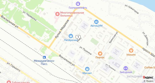 Арендовать торговую площадь 163 м<sup>2</sup> в Междуреченске по адресу Россия, Кемеровская область, Междуреченск, улица Пушкина, 38
