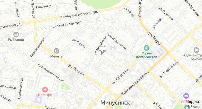 Купить торговую площадь 56 м<sup>2</sup> в Минусинске по адресу Россия, Красноярский край, Минусинск, улица Гоголя, 29