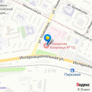 Схема проезда: Городская клиническая больница №13, расположенный по адресу «Уфа, улица Нежинская, 28»