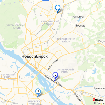 Карта дилеров KIA в Новосибирске