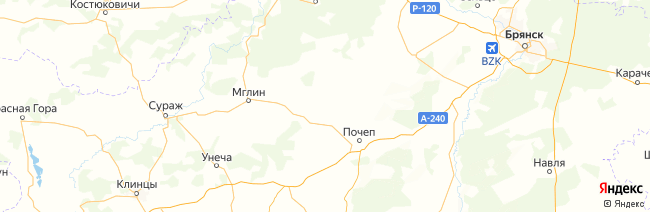 Брянская область на карте