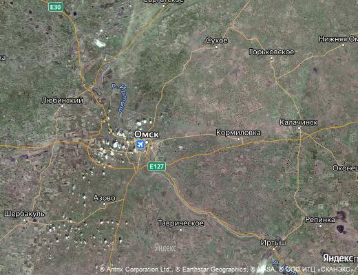 Карта поселка Ростовки в Омской области с улицами и