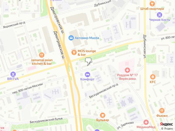 Дмитровское шоссе Москва  Почтовые индексы на карте Москвы
