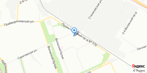 Yandex map image with office location in Moscow