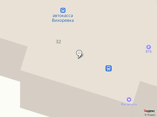 Вихоревка на карте Вихоревки