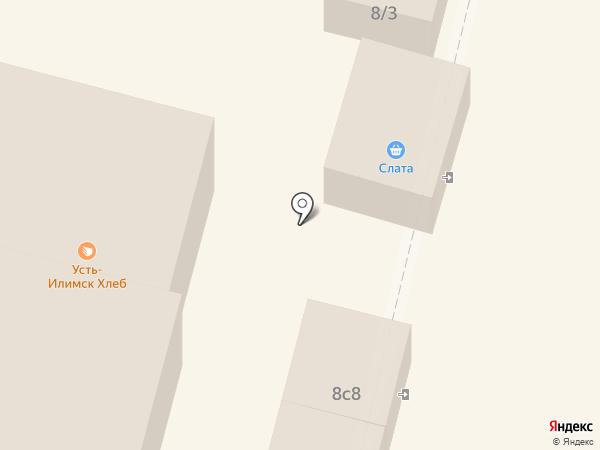 Киоск по продаже хлебобулочных изделий на карте Братска