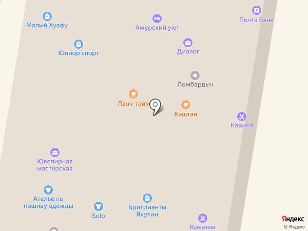 Каштан на карте Благовещенска