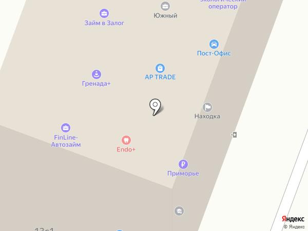 Эльдентика на карте Находки