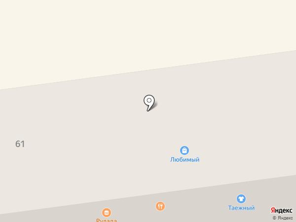 Таёжный на карте Южно-Сахалинска