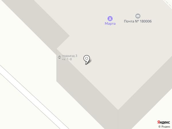 Почтовое отделение №6 на карте Пскова