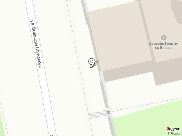 Церковь Георгия со Взвоза на карте Пскова